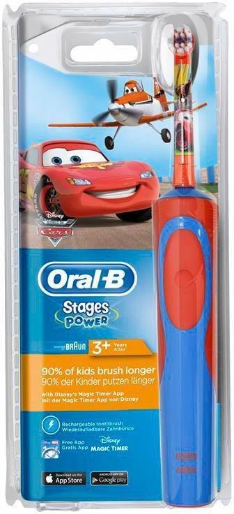 Oral-B Elektrische Zahnbürste Stages Power Kids, mit Disney-Autos und -Flugzeugen in blau/rot