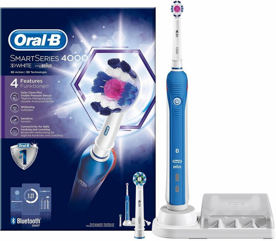 Oral-B Elektrische Zahnbürste SmartSeries 4000 , 3DWhite, Powered By Braun in blau/weiß