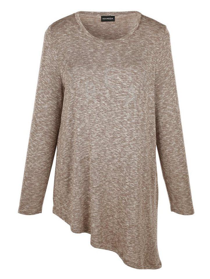 MIAMODA Pullover aus Feinstrick in braun/offwhite