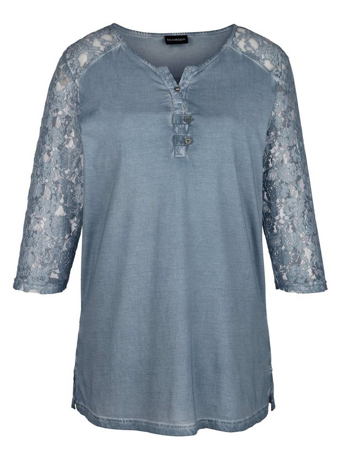 MIAMODA Shirt in leicht ausgewaschener Used-Optik in jeansblau