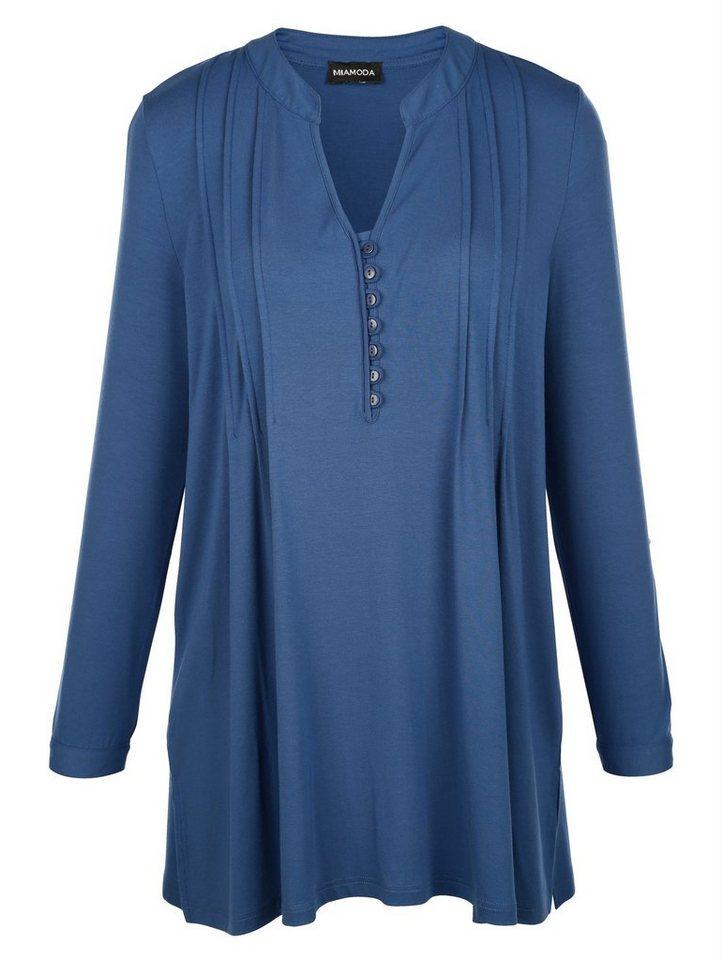 MIAMODA Bluse in Jersey-Qualität in blau