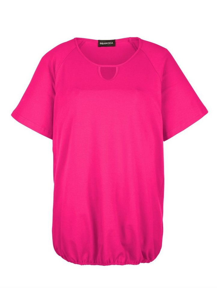 MIAMODA Shirt mit Gummizug am Saum in pink