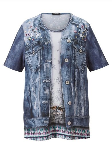 MIAMODA Shirt mit Jeansjacken-Druck rundum