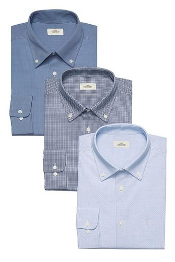 Next Regular-Fit-Hemden mit Button-Down-Kragen, 3er-Pack 3 teilig