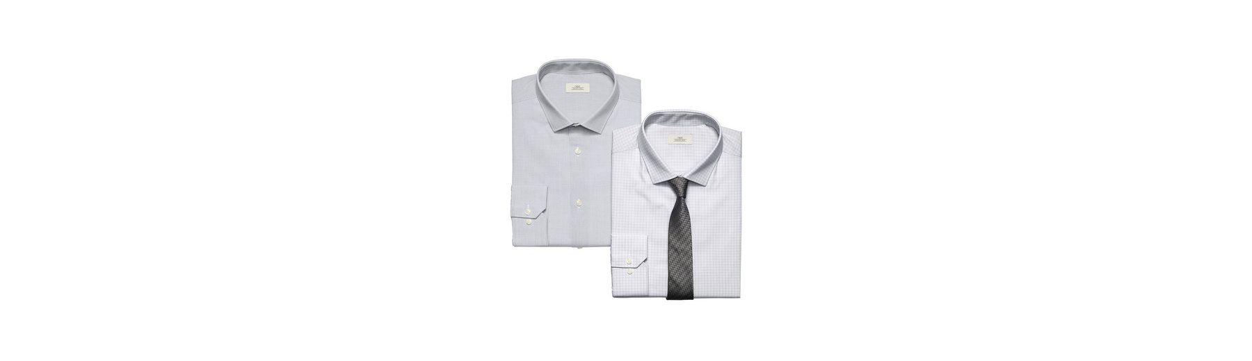 Next Regular-Fit-Hemden mit Krawatte, grau, 2er-Pack