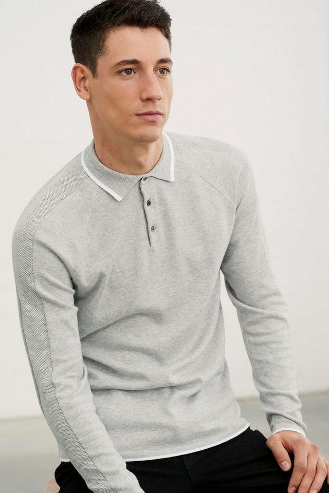 Next Strukturiertes Poloshirt in Grey