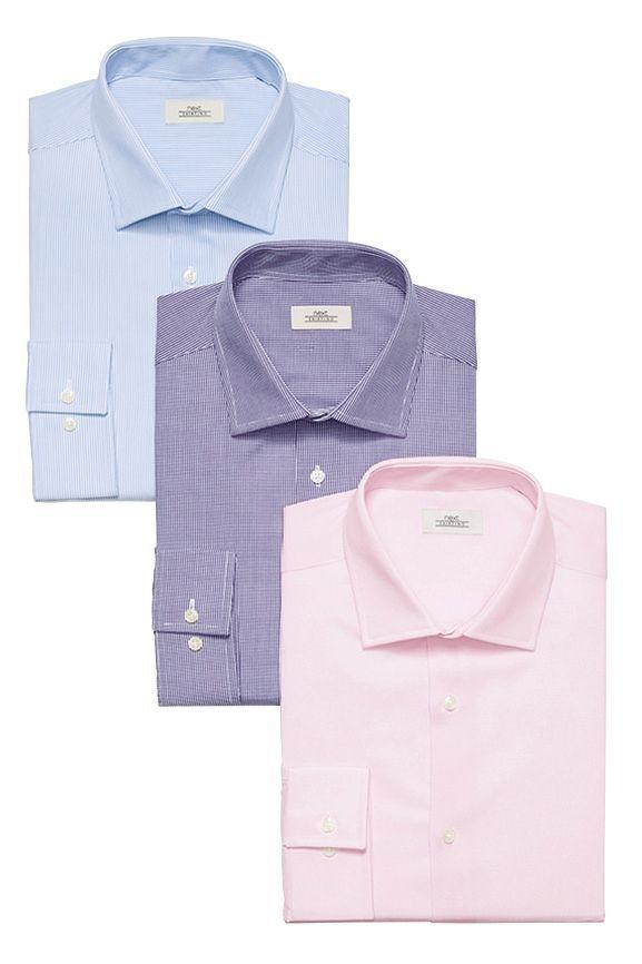 Next Slim Fit Hemden, blau, rosa, lila, 3er Pack