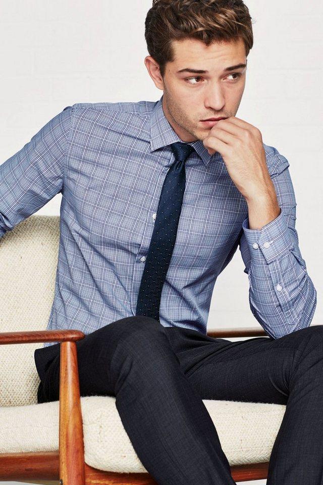 Next Kariertes Hemd und Krawatte im Set 2 teilig in Blue Slim Fit Single Cuff