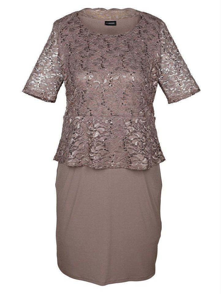 MIAMODA Kleid mit Spitzenoberteil in taupe