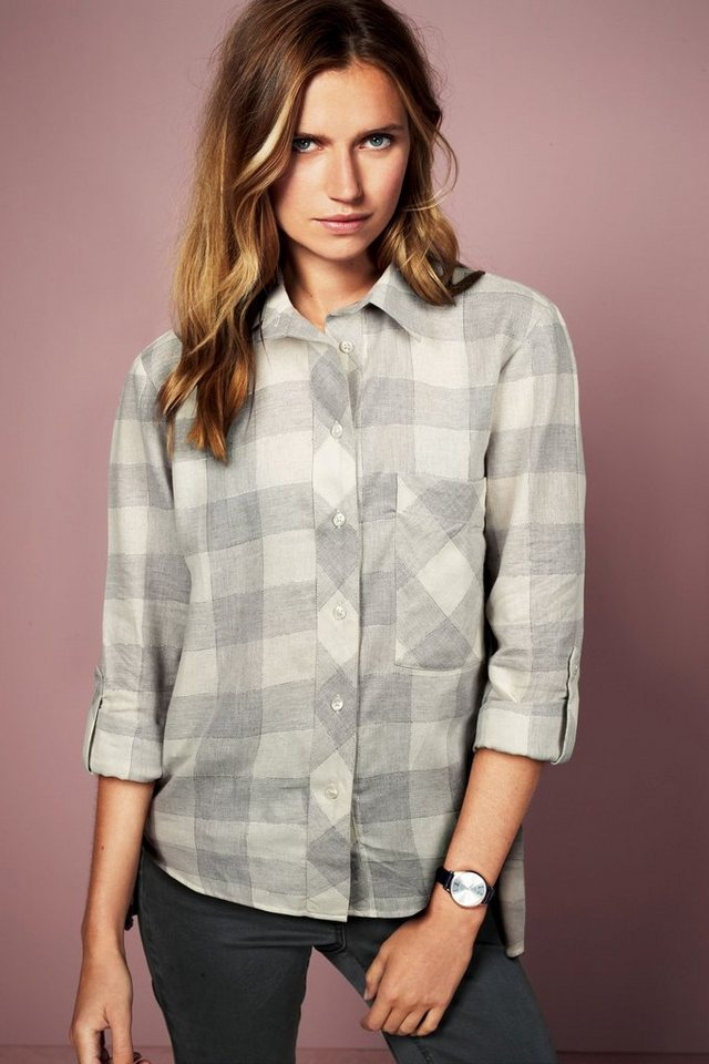 Next Karierte Bluse in Grey