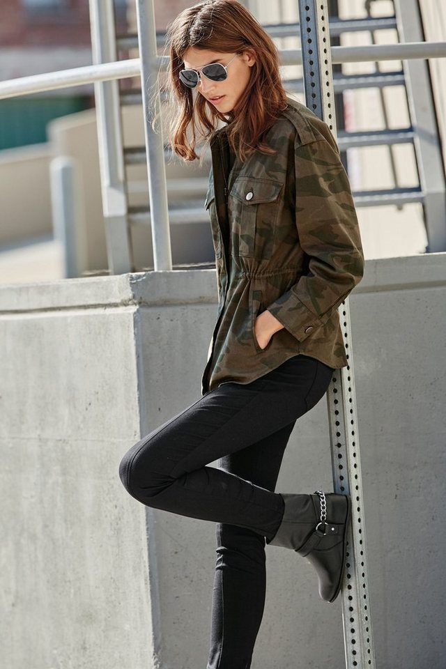 Next Skinny-Hose mit Reißverschluss in Khaki Zip Trouser