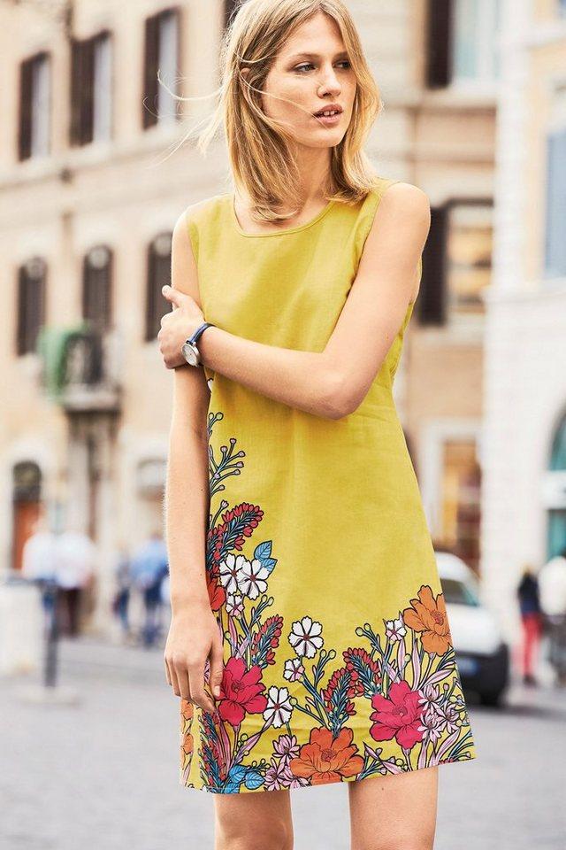 Next Kleid aus Leinengemisch mit Print in Yellow