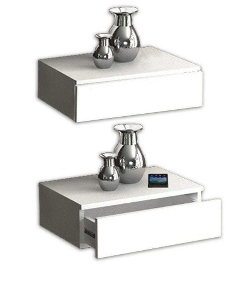 VCM Wandschublade Blado-2x1 / Wandregal, Wandablage, Dielenmöbel in Weiß