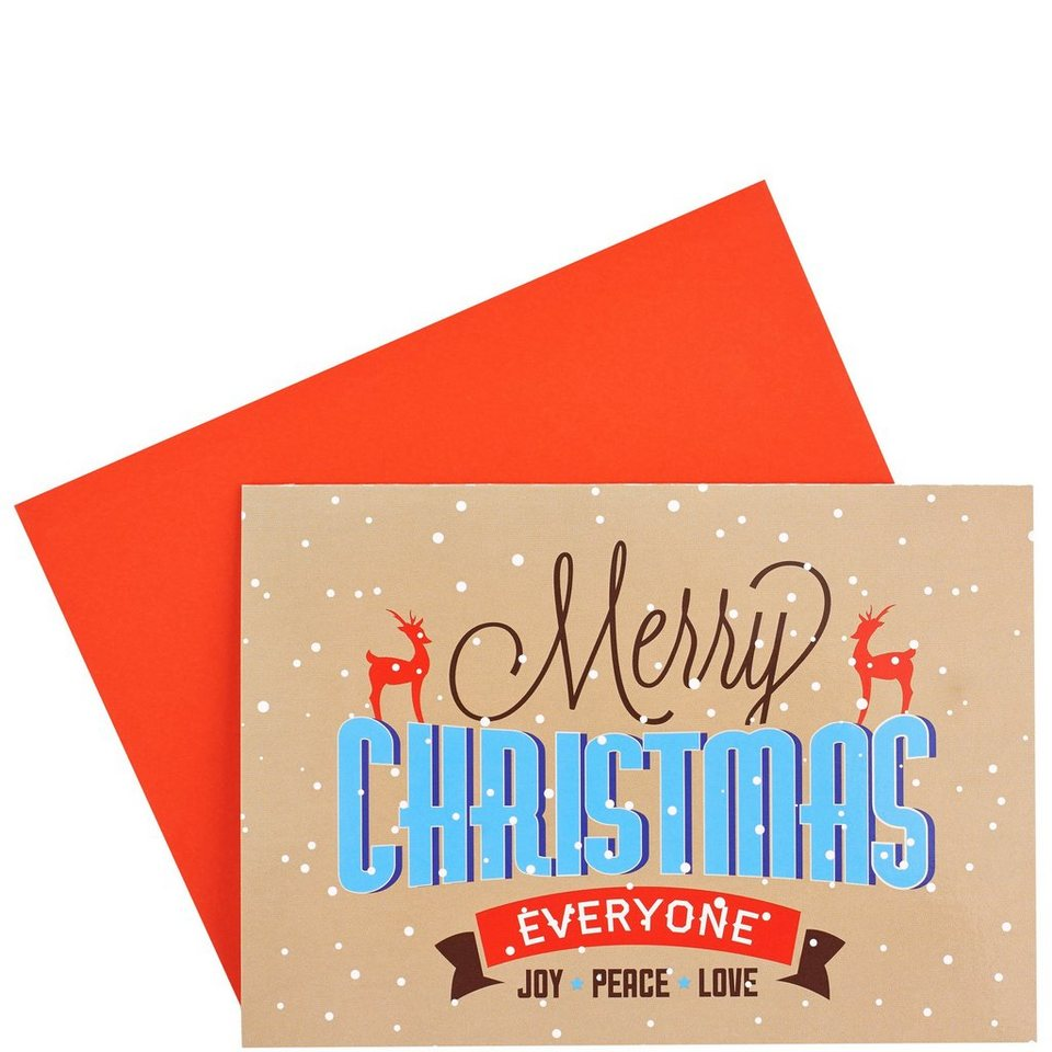 BUTLERS CARD »Merry Christmas everyone« in Beige