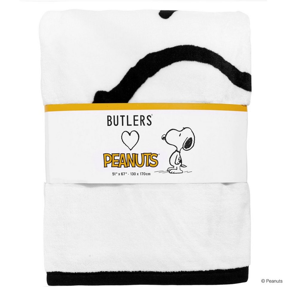 BUTLERS PEANUTS »Flanell Decke Snoopy 130x170cm« in schwarz-weiss