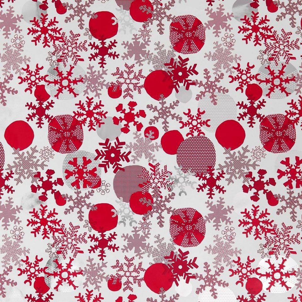BUTLERS SURPRISE »Geschenkpapier Schneeflocken« in rot-weiss-silber