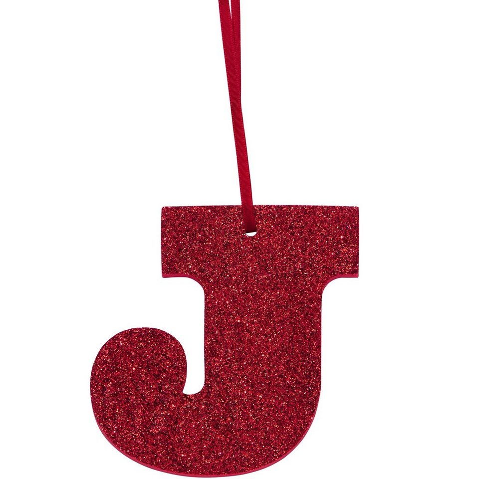 "BUTLERS HAPPY GIFT »Glitzerbuchstabe ""J""« in rot"