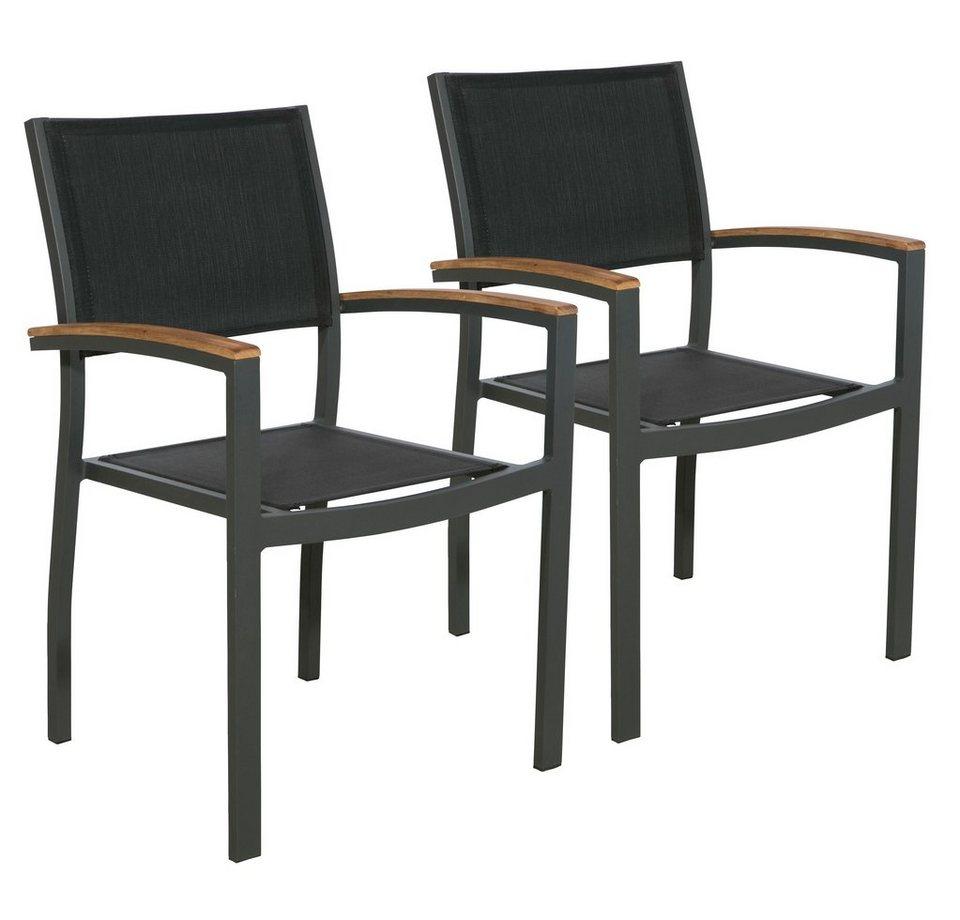 bellasole gartenstuhl melbourne 2er set alu teakholz textil stapelbar schwarz online. Black Bedroom Furniture Sets. Home Design Ideas