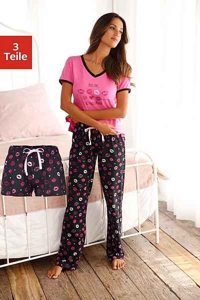 Pyjama Pink Kussmund set3 teiligMit schwarz Print Vivance Dreams Gemustert 0wPO8nk