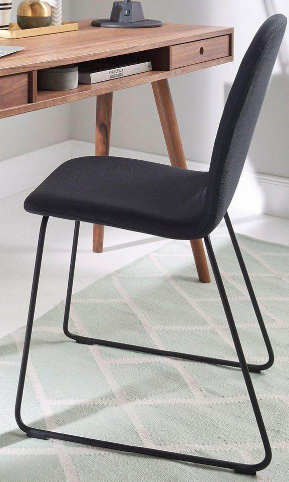 andas lederstuhl sledge classic 2er set mit kufengestell aus schwarzem metall online kaufen. Black Bedroom Furniture Sets. Home Design Ideas
