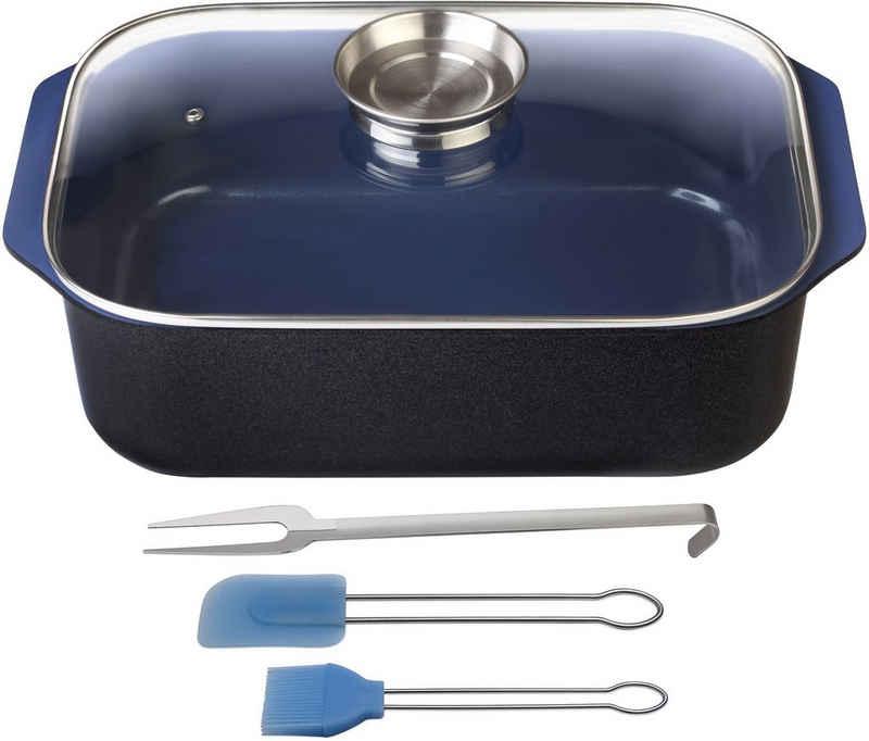 GSW Bräter »Ceramica kobatblau«, Aluminiumguss, (1-tlg), Induktion, Gratis 1x Fleischgabel + 1x Backpinsel-Set, 2tlg