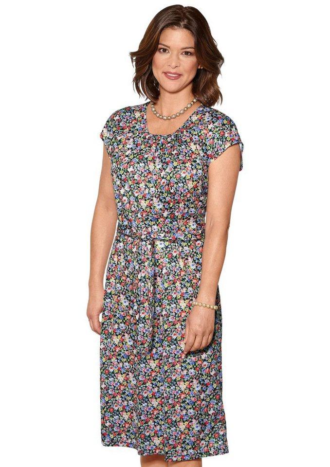 Damen Classic Basics Jersey-Kleid mit Rundhals-Ausschnitt bunt,mehrfarbig | 05414856027497