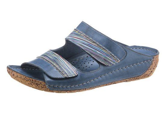 Klettverschluss Gemini Pantolette Jeansblau Mit gestreift DEIHeW92Y