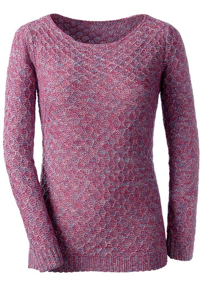 Classic Inspirationen Pullover mit weitem Rundhals-Ausschnitt in fuchsia-gemustert