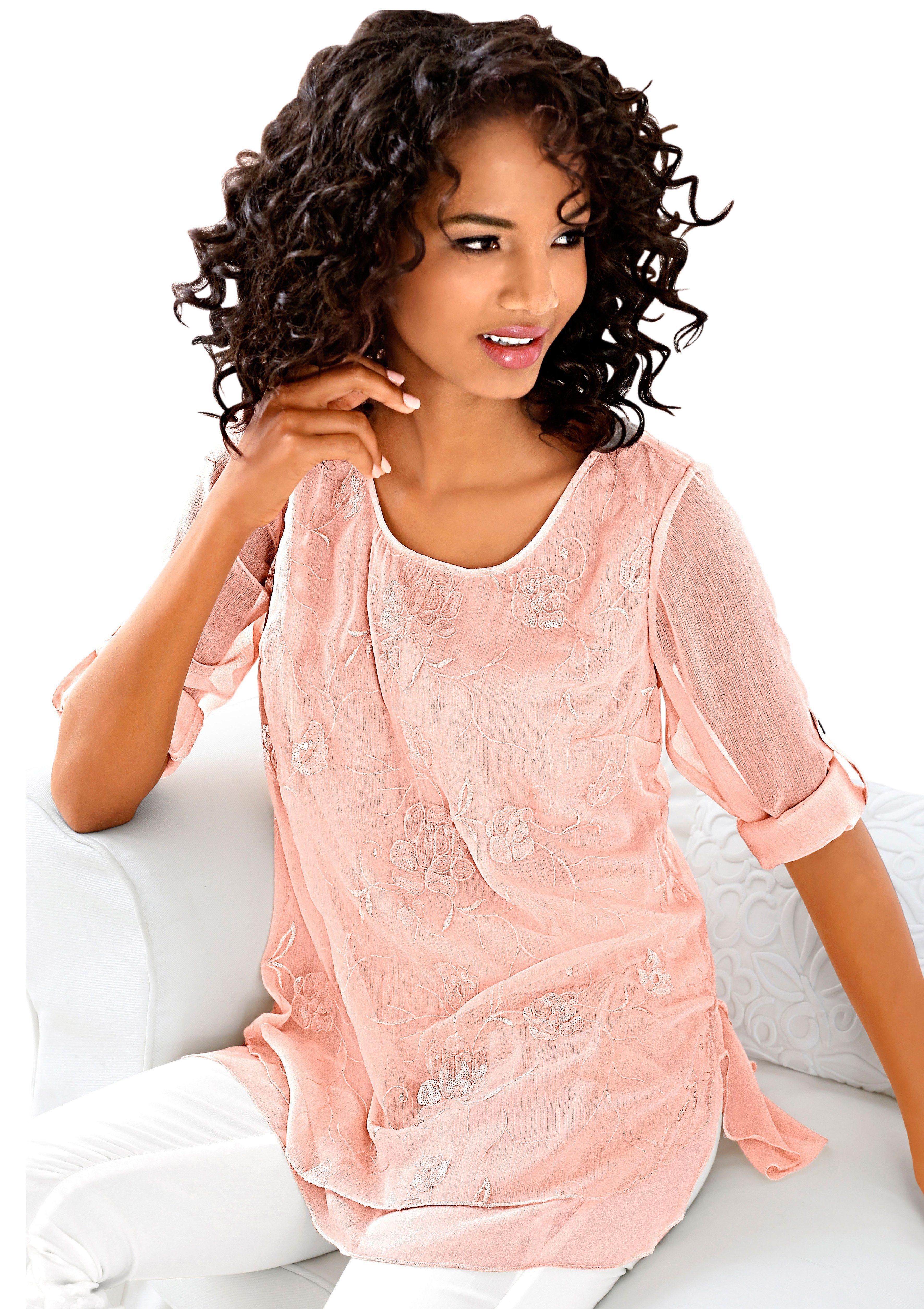 Classic Inspirationen Tunika mit schöner Stickerei | Bekleidung > Tuniken > Sonstige Tuniken | Chiffon | CLASSIC INSPIRATIONEN