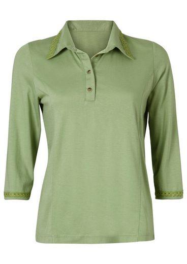Classic Shirt With Häkelspitzenbesatz On The Polo Collar