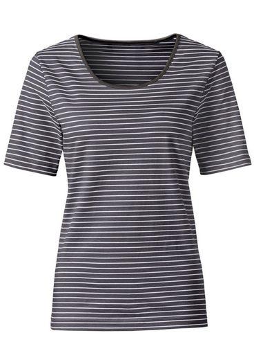 Collection L. Shirt mit mit paspeliertem Rundhals-Ausschnitt