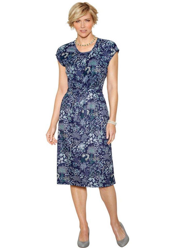 Damen Classic Basics Jersey-Kleid mit gerafften Ausschnitt blau | 05414856027398