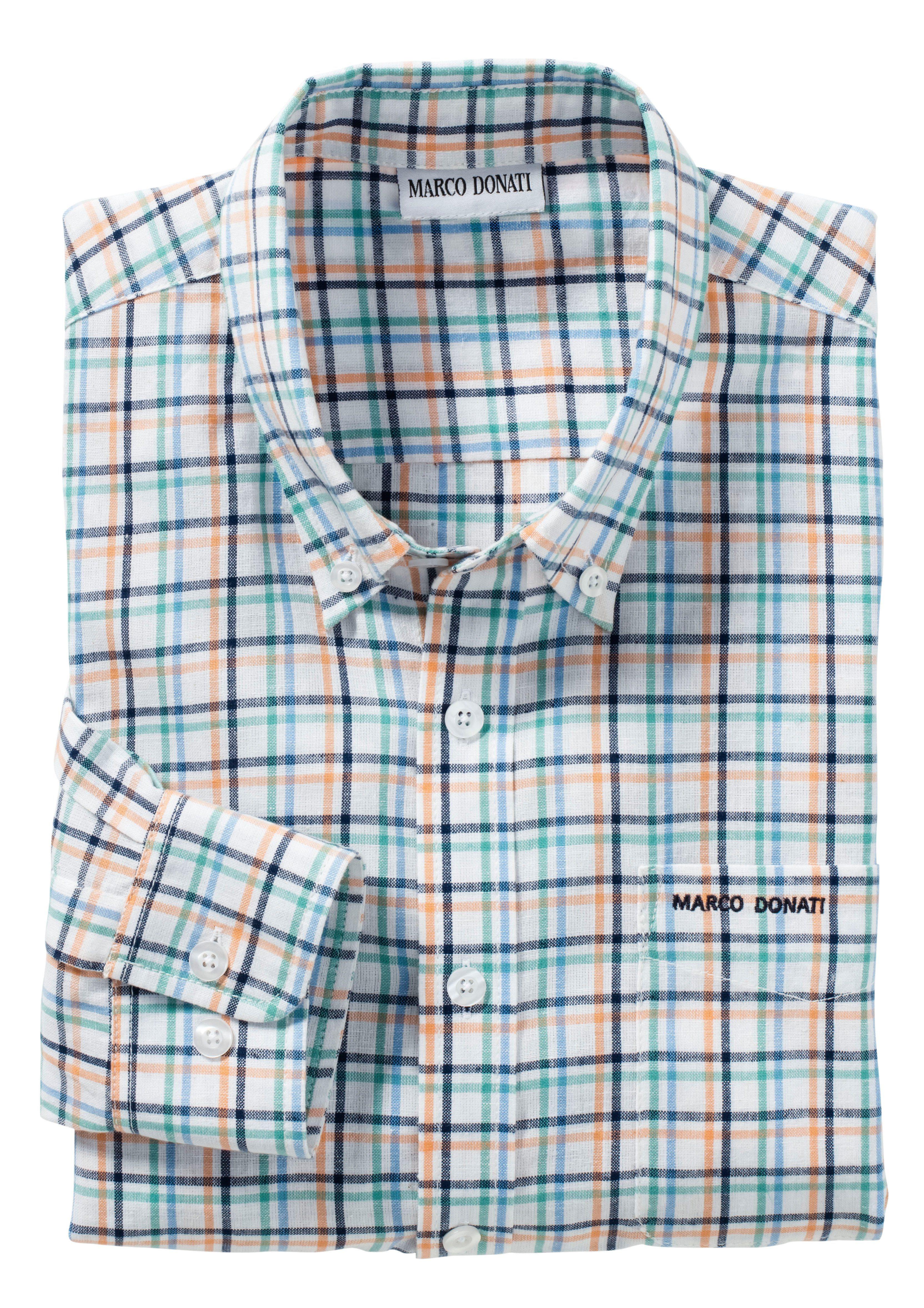 Marco Donati Langarm-Hemd in Leinenstruktur