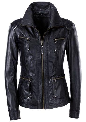 Mainpol Leder-Jacke mit Umlegekragen