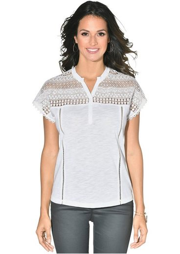 Classic Inspirationen Shirt mit Spitze im Schulterbereich