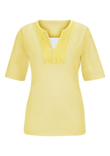 Classic Basics Shirt mit hochwertiger Baumwoll-Spitze