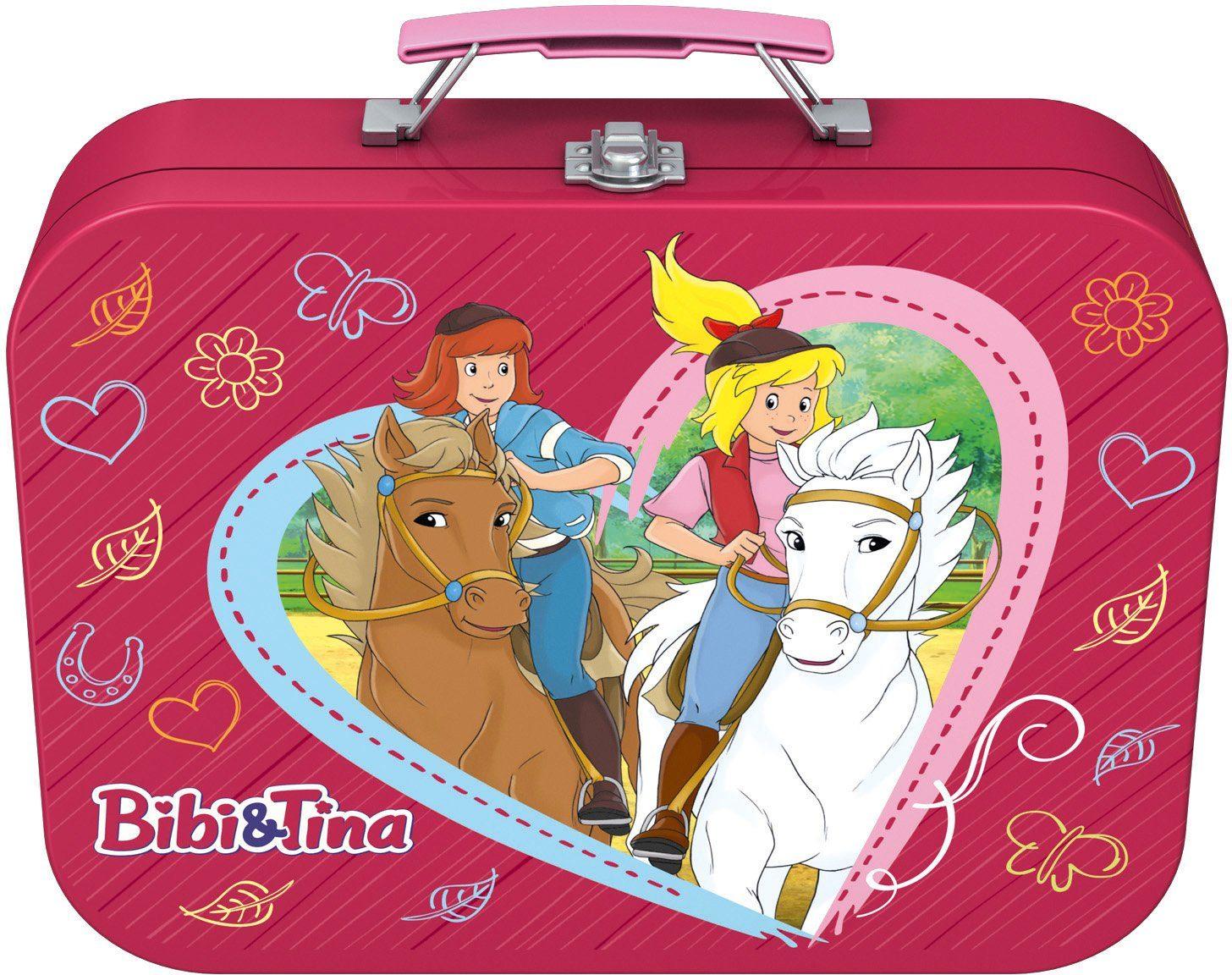 Schmidt Spiele Kinderpuzzleset mit 2x100 und 2x150 Teilen, »Puzzlebox im Metallkoffer, Bibi + Tina«