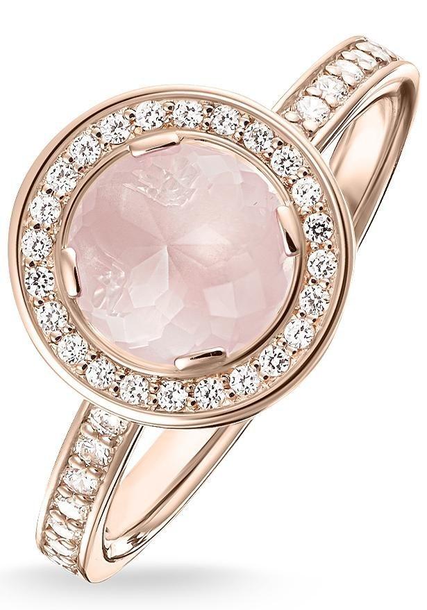 Thomas Sabo Silberring »Ring, TR1971-417-9-50, 54, 58, 60« mit Rosenquarz und mit Zirkonia in Silber 925-roségoldfarben