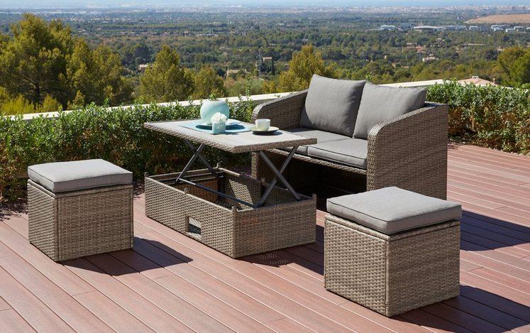 10 tlg gartenm belset lagos 2er sofa 2 hocker tisch 111x57 cm polyrattan braun online. Black Bedroom Furniture Sets. Home Design Ideas