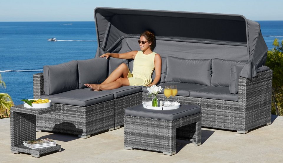 loungebett atlanta polyrattan inkl auflagen grau online kaufen otto. Black Bedroom Furniture Sets. Home Design Ideas