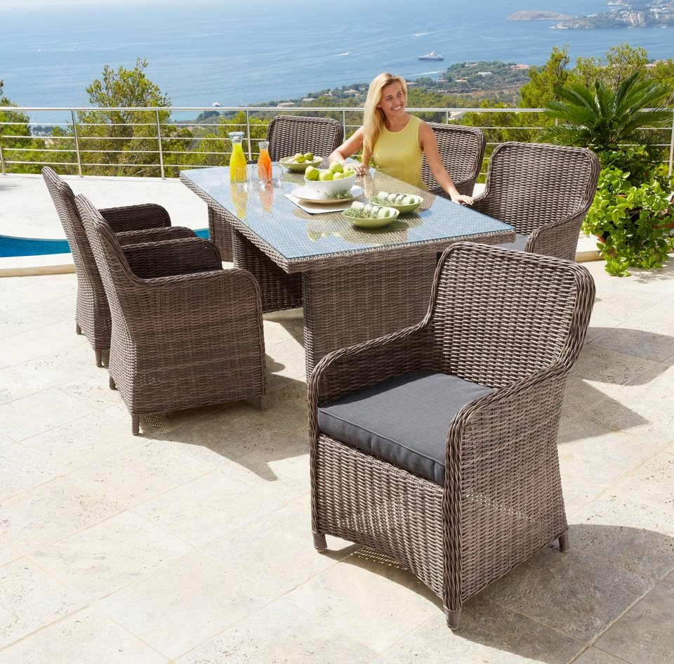 gartenm belset kapstadt 6 sessel tisch 200x100 cm polyrattan natur online kaufen otto. Black Bedroom Furniture Sets. Home Design Ideas