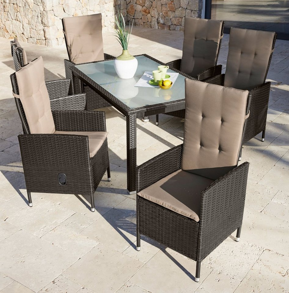 gartenm belset madrid 13 tlg 6 hochlehner tisch polyrattan braun verstellbar online. Black Bedroom Furniture Sets. Home Design Ideas