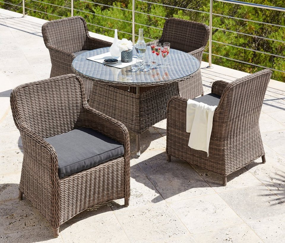 gartenm belset kapstadt 9 tlg 4 sessel tisch 100 cm polyrattan natur online kaufen otto. Black Bedroom Furniture Sets. Home Design Ideas