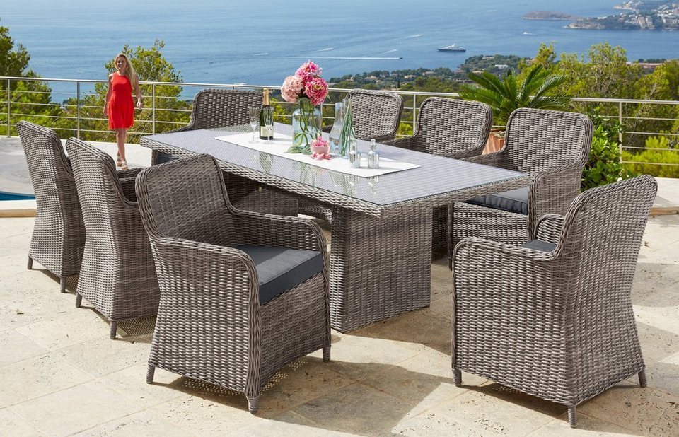 gartenm belset kapstadt 17 tgl 8 sessel tisch 230x100 cm polyrattan natur online kaufen. Black Bedroom Furniture Sets. Home Design Ideas