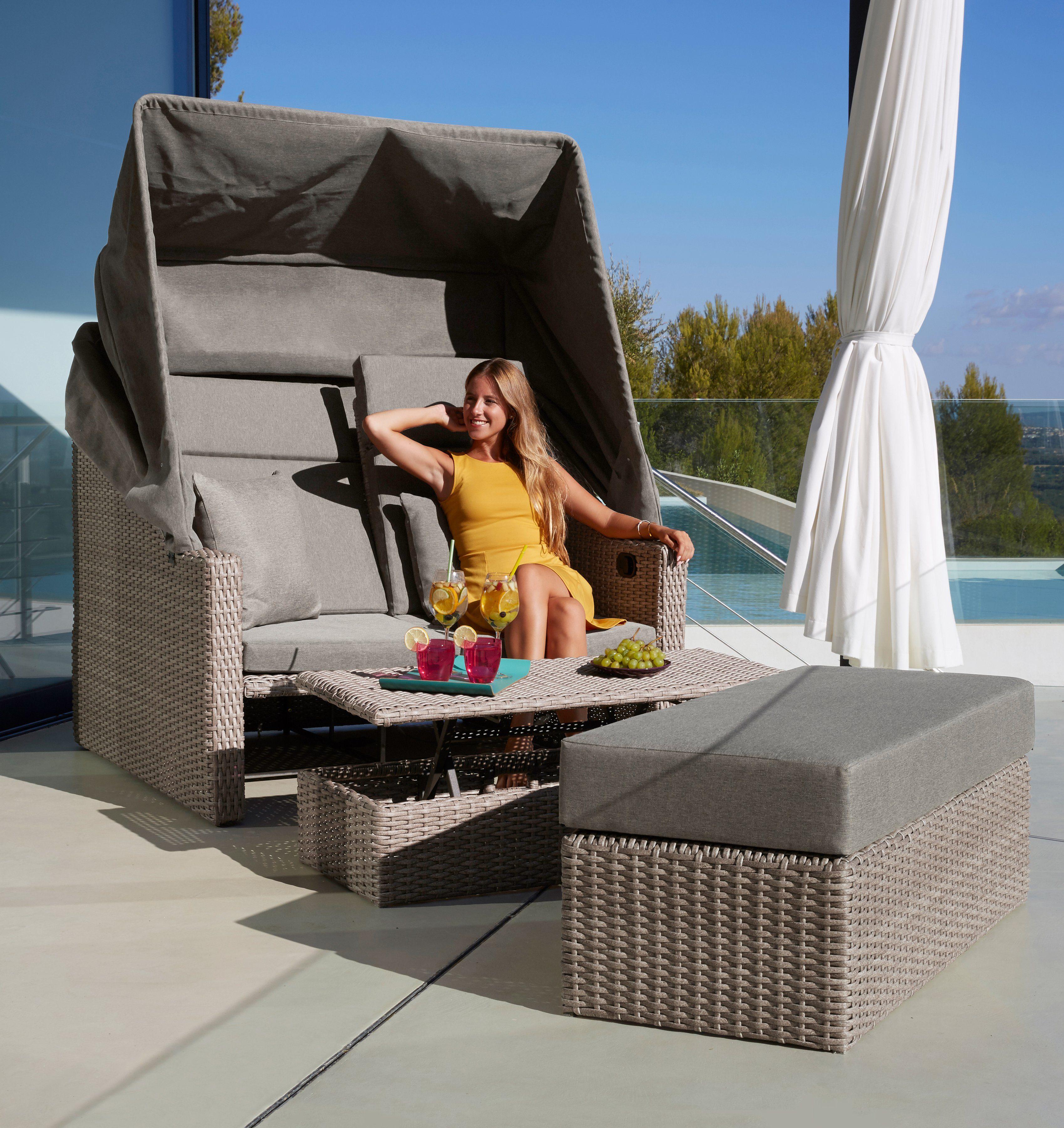 MERXX Loungebett »Rimini«, Polyrattan, braun, inkl. Auflagen