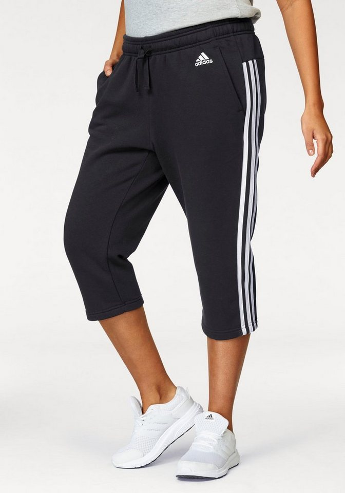 adidas Performance 3/4-Hose »ESSENTIALS 3 STRIPES 3/4 PANT« in schwarz-weiß