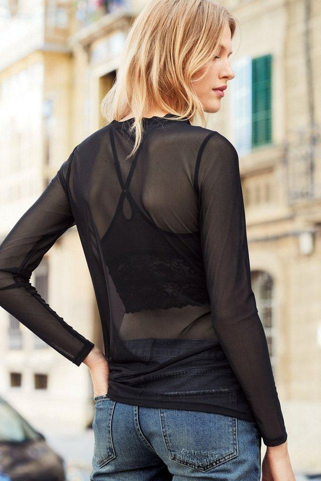 Next Langärmeliges Shirt aus Netzstoff in Black