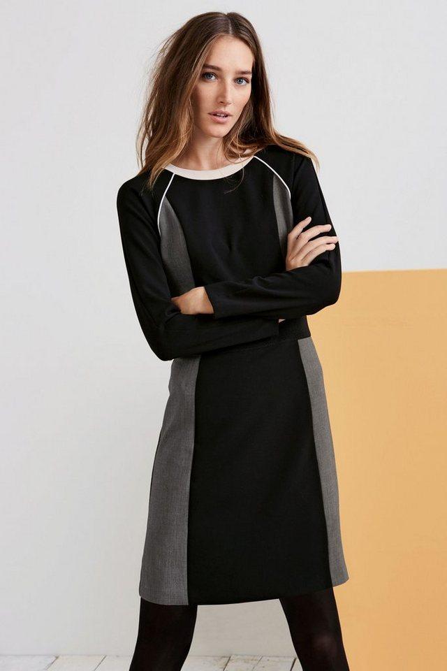 Next Langärmeliges Kleid in Colourblock-Optik in Black