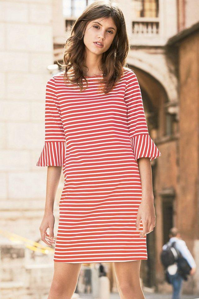 Next Gestreiftes Kleid mit Rüschenärmeln in Pink/White