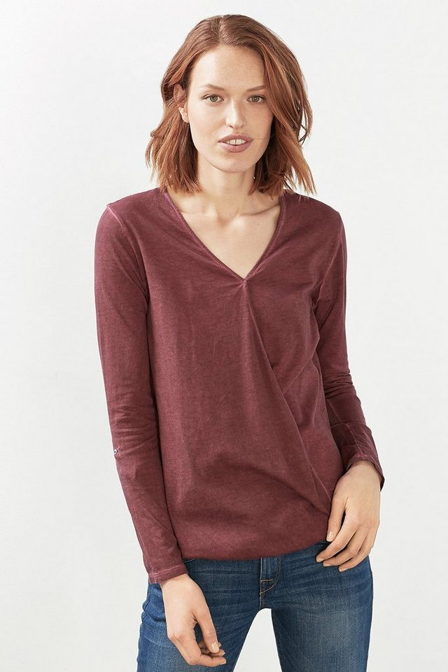 ESPRIT CASUAL Gewaschenes Wickel-Shirt, Baumwoll-Mix in GARNET RED